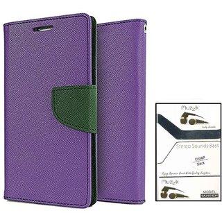 Wallet Flip case Cover For Moto G 3  (PURPLE) With Earphone(3.5mm Jack Champ Earphone)