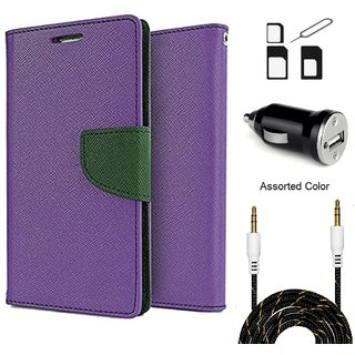 Wallet Flip case Cover For Samsung Galaxy A5 (2016)  (PURPLE) With Noosy Sim Adapter + Car Adapter + 3.5 Aux Audio Cable- 1 Meter(colour may vary)