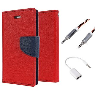 Wallet Flip case Cover For Samsung Galaxy J7  (RED) With 3.5mm Stereo Audio Earphone Splitter + Metal Aux Cable- 1 Meter(colour may vary)