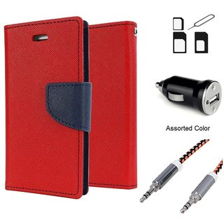 Wallet Flip case Cover For Lenovo A1000  (RED) With Noosy Sim Adapter + Car Adapter + Metal Aux Cable- 1 Meter(colour may vary)