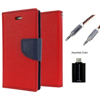 Wallet Flip case Cover For Sony Xperia T3  (RED) With Micro Otg Smart + Metal Aux Cable- 1 Meter(colour may vary)