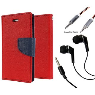 Wallet Flip case Cover For HTC One M9 PLUS  (RED) With Raag Earphone(3.5mm) + Metal Aux Cable- 1 Meter(colour may vary)