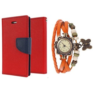 Wallet Flip case Cover For Samsung Z1  (RED) With Girls Dori Watch(Assorted Color)