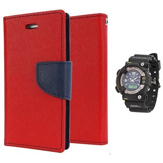 Wallet Flip case Cover For Sony Xperia E4 G  (RED) With Black Dial Analog-Digital Watch-S-SHOCK For Men
