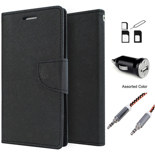 Wallet Flip case Cover For Sony Xperia C3  (BLACK) With Noosy Sim Adapter + Car Adapter + Metal Aux Cable- 1 Meter(colour may vary)
