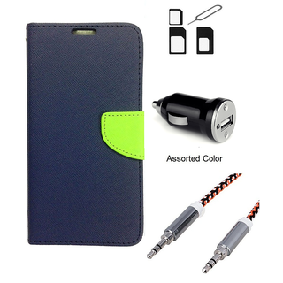 Wallet Flip case Cover For LG G4  (BLUE) With Noosy Sim Adapter + Car Adapter + Metal Aux Cable- 1 Meter(colour may vary)