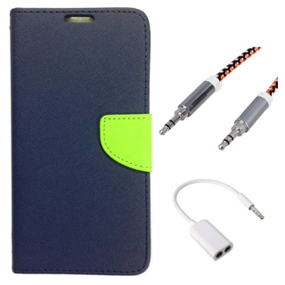Wallet Flip case Cover For Micromax Canvas 2.2 A114  (BLUE) With 3.5mm Stereo Audio Earphone Splitter + Metal Aux Cable- 1 Meter(colour may vary)