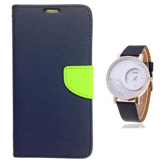 Wallet Flip case Cover For Microsoft Lumia 640 XL  (BLUE) With Moving Diamond  Women Watch