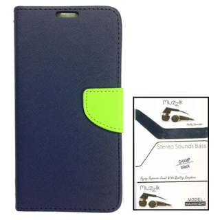 Wallet Flip case Cover For Samsung Galaxy Note 3 Neo N750  (BLUE) With Earphone(3.5mm Jack Champ Earphone)