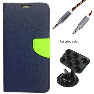 Wallet Flip case Cover For Sony Xperia M2 Dual  (BLUE) With Rotating Suction Cups Car Mount Holder + Metal Aux Cable- 1 Meter(colour may vary)