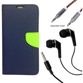 Wallet Flip case Cover For Reliance Lyf Flame 4  (BLUE) With Raag Earphone(3.5mm) + Metal Aux Cable- 1 Meter(colour may vary)