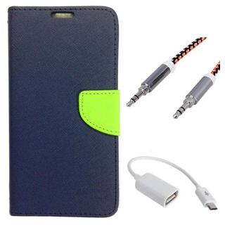 Wallet Flip case Cover For Samsung Galaxy S5 9600  (BLUE) With Micro Otg Cable + Metal Aux Cable- 1 Meter(colour may vary)