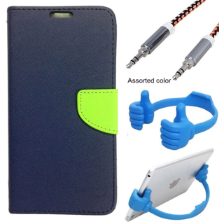 Wallet Flip case Cover For Samsung Galaxy S4 I9500  (BLUE) With Mobile Ok Stand + Metal Aux Cable- 1 Meter(colour may vary)