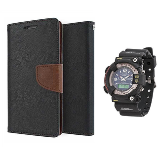 Wallet Flip case Cover For HTC Desire 516  (BROWN) With Black Dial Analog-Digital Watch-S-SHOCK For Men
