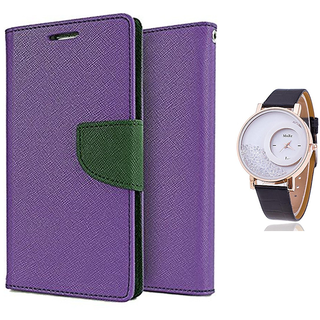 Wallet Flip case Cover For Nokia Lumia 520  (PURPLE) With Moving Diamond  Women Watch