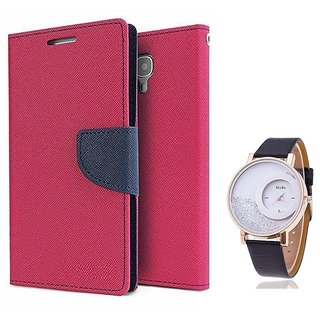 Wallet Flip case Cover For Micromax Bolt D321   (PINK) With Moving Diamond  Women Watch