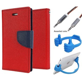 Wallet Flip case Cover For Apple IPhone 5c  (RED) With Mobile Ok Stand + Metal Aux Cable- 1 Meter(colour may vary)