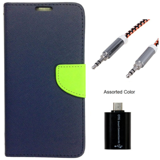Wallet Flip case Cover For Reliance Lyf Flame 2  (BLUE) With Micro Otg Smart + Metal Aux Cable- 1 Meter(colour may vary)