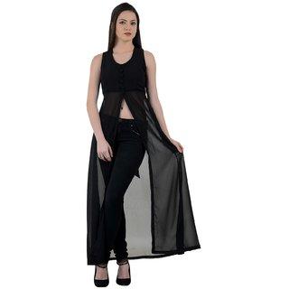 Raabta Black Maxi Dress With Front Slit