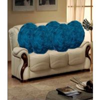 Deal Wala Set Of 5 Attractive Circle Rose Design Cushion Cover-dark Sky Blue