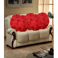 Deal Wala Set Of 5 Attractive Circle Rose Design Cushion Cover-red