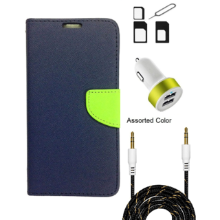 Wallet Flip case Cover For Samsung Galaxy J2  (BLUE) With Noosy Sim Adapter + 2 Port USB Car Adapter + 3.5 Aux Audio Cable- 1 Meter(colour may vary)