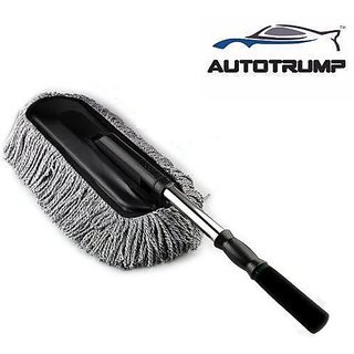 AUTOTRUMP -Car Retractable Dust Wax Brush Duster Mop Trailers Drag Telescopic Cleaning Dirt Stainless Handle Cleaner For -  Mahindra Thar