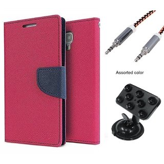 Wallet Flip case Cover For Samsung Galaxy E5  (PINK) With Rotating Suction Cups Car Mount Holder + Metal Aux Cable- 1 Meter(colour may vary)