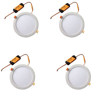 SHELTON 6W Led Slim Ceiling Panel Lights. With 1 Year Warranty (Pack of 4 Pcs, White,Round )