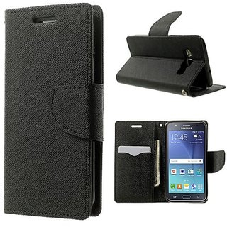 Wallet Flip case Cover For  Micromax Canvas Juice 2 AQ5001 (BLACK)