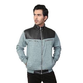Zeel Green  Black Fleece Zipper Men's Sweatshirt
