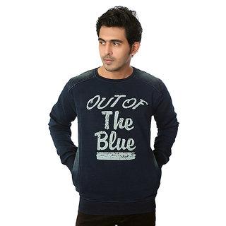 Zeel Dark Blue Round Neck Printed Sweatshirt