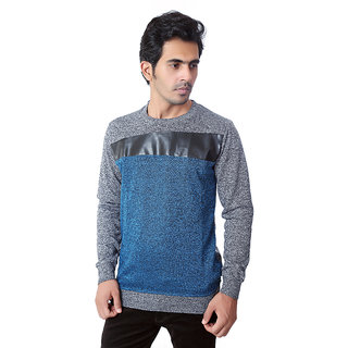 Zeel Grey & Peacock Blue Round Neck Sweatshirt