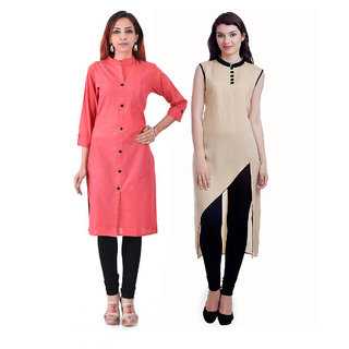 Chigy Whigy Red & Beige Plain Cotton Straight Kurti