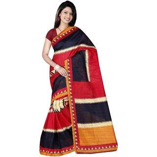 Winza Designer Bhagalpuri Cotton Silk Maroon & Black Colour Printed Saree With Blouse Piece