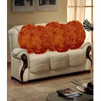 Deal Wala Set Of 5 Attractive Circle Rose Design Cushion Cover-brown