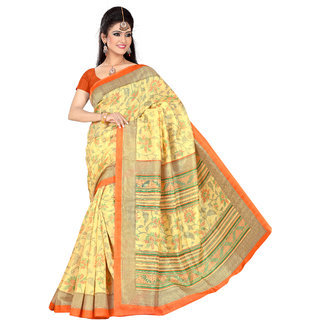 Winza Designer Bhagalpuri Cotton Silk Yellow & Orange Colour Printed Saree With Blouse Piece