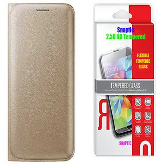 Golden Leather Flip Cover with 25D HD Flexible Tempered Glass for Lenovo Vibe K5 Plus
