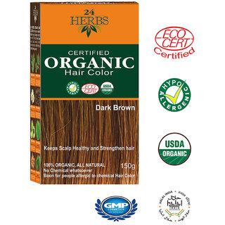 24 HERBS Certified Organic Hair Color - Dark Brown Hair Color