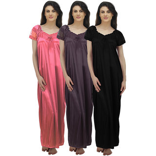 Arlopa Multicolor Satin Plain Night Gowns & Nighty