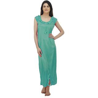 Arlopa Turquoise Satin Plain Night Gowns & Nighty