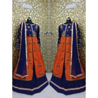 Fabliva Orange  Navy Blue  Embroidered Banglory Indo Western