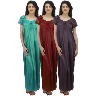 437a7267c2 Buy Arlopa Multicolor Satin Plain Night Gowns   Nighty Online - Get ...