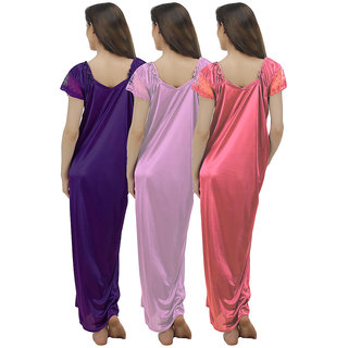 f938ff6a04 Buy Arlopa Multicolor Satin Plain Night Gowns   Nighty Online - Get ...