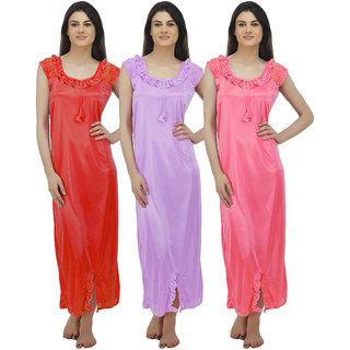Arlopa Multicolor Satin Plain Night Gowns & Nighty