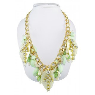 Ce'lavy Green Beaded Leafy Necklace Perfect for all occasions for Girls  Women