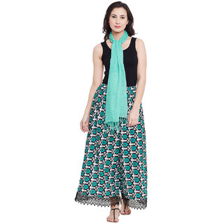Solid Rayon Scarf Free With Green Palazzo
