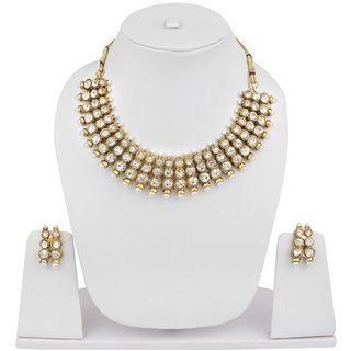 Jewels Capital Exclusive Golden Kundan Studded Necklace Set -d9