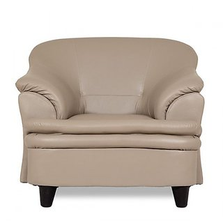 Housefull Beige Leatherette 1 Seater Acro Sofa Set