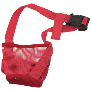 Futaba Dog Adjustable Anti Bark Mesh Soft Mouth Muzzle -Red - Large